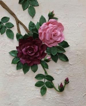 3D Matte Rose Bunch on Textured Background